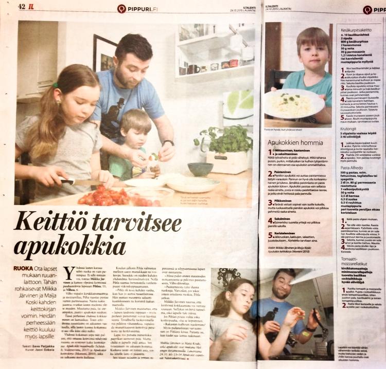 Apukokki-haastattelu ja ruokavinkit Iltalehdessä lauantaina 24.10.2015.